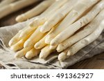 raw organic white asparagus... | Shutterstock . vector #491362927