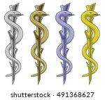 medical symbol   rod of...   Shutterstock . vector #491368627
