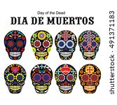 sugar skull  day of the dead | Shutterstock .eps vector #491371183