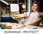 portrait of businesswoman... | Shutterstock . vector #491376277