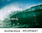Surfing Girl Riding A Giant...