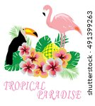 vector illustration of tropical ... | Shutterstock .eps vector #491399263
