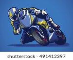 motorcycle racing in hand... | Shutterstock .eps vector #491412397