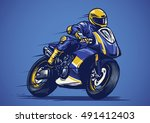 hand drawing of motorcycle race | Shutterstock .eps vector #491412403