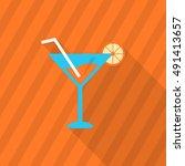 martini icon   vector flat long ...   Shutterstock .eps vector #491413657