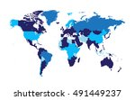 world map with countries flat... | Shutterstock .eps vector #491449237