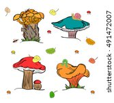 set of colorful hand drawn cute ... | Shutterstock .eps vector #491472007