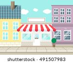 shop store with blank sign... | Shutterstock .eps vector #491507983