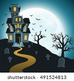 halloween background with tombs ... | Shutterstock .eps vector #491524813