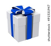 gift box with blue and silver... | Shutterstock . vector #491531947