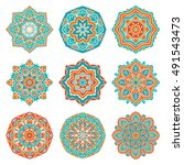 Set Of Colorful Vector Mandala...