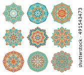 Set Of Colorful Vector Mandala...