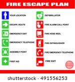 set of symbols for fire escape... | Shutterstock .eps vector #491556253