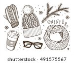 hand drawn cute vector winter... | Shutterstock .eps vector #491575567