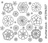 zentangle abstract flowers.... | Shutterstock .eps vector #491596507