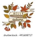 hello autumn  ribbon banner ... | Shutterstock .eps vector #491608717