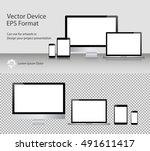 set of realistic computer... | Shutterstock .eps vector #491611417
