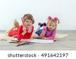 cute little preschooler child... | Shutterstock . vector #491642197