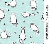 seamless pattern with funny... | Shutterstock .eps vector #491652253
