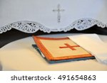 Embroidered Cross In Orange...