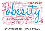 obesity word cloud on a white... | Shutterstock .eps vector #491659627