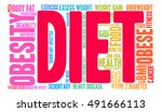 diet word cloud on a white... | Shutterstock .eps vector #491666113