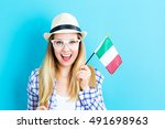 happy young traveling woman... | Shutterstock . vector #491698963