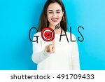 goals concept with young woman... | Shutterstock . vector #491709433