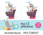 find the differences. kids... | Shutterstock .eps vector #491728507