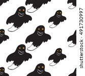 halloween seamless pattern with ... | Shutterstock .eps vector #491730997