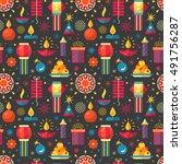 diwali hindu festival seamless... | Shutterstock .eps vector #491756287