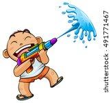 Kid Playing Water Gun Vector...