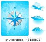 compass rose on a world map... | Shutterstock .eps vector #49180873