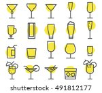 beverage icons set. cocktail ... | Shutterstock . vector #491812177