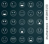 vector icons of smiley faces | Shutterstock .eps vector #491845153