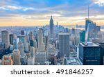 Stock photo new york city skyline with urban skyscrapers at sunset 491846257