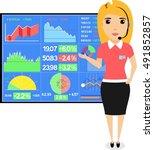 girl broker is working on... | Shutterstock .eps vector #491852857