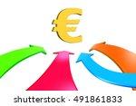 four color arrows go toward... | Shutterstock . vector #491861833