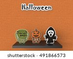 3d halloween poster | Shutterstock . vector #491866573