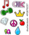 fashion cute patch badges.... | Shutterstock .eps vector #491870257