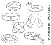 vector set of life ring | Shutterstock .eps vector #491873377