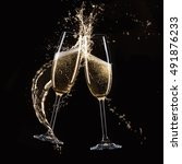 glasses of champagne ... | Shutterstock . vector #491876233