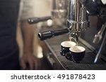 coffee machine barista grinder... | Shutterstock . vector #491878423