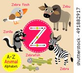 Cute Children Zoo Alphabet Z...
