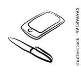 handdrawn pen with smartphone... | Shutterstock .eps vector #491896963