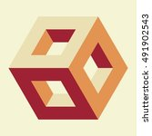 isometric hollow cube  vector... | Shutterstock .eps vector #491902543