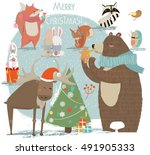 christmas set with wild animals | Shutterstock .eps vector #491905333