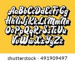 comic lettering font vector...   Shutterstock .eps vector #491909497