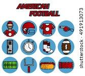 american football flat icon set | Shutterstock .eps vector #491913073