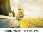 woman relaxing in her car while ...   Shutterstock . vector #491928193